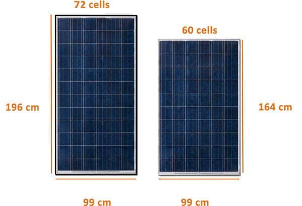 مقاس الألواح الشمسية
